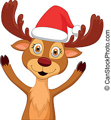 Cute cartoon deer waving - Vector illustration of Cute...