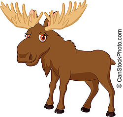 Cute moose cartoon - Vector illustration of Cute moose...