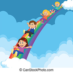 Cartoon Kids Sliding Down a Rainbow - Vector illustration of...