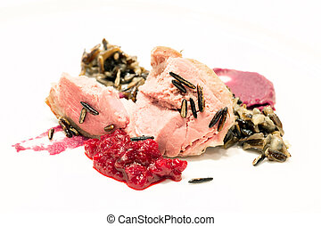 goose steak - Gourmet Ballotine of goose steak serve with...
