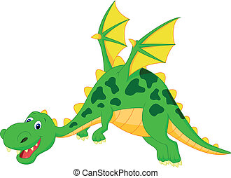 Happy dragon cartoon flying - Vector illustration of Happy...