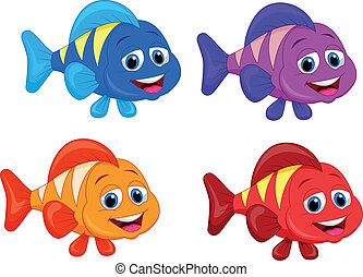 Cute fish cartoon collection set - Vector illustration of...