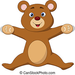 Happy brown bear cartoon jumping - Vector illustration of...