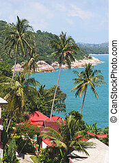coastline - high view of tropical island coastline with...