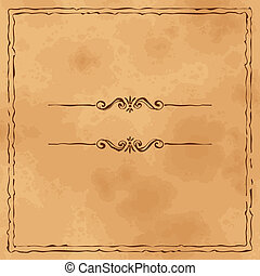 Grunge old paper background with hand drawn frame - Grunge...