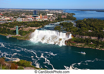 Niagara Falls - The view of the Falls. Niagara Falls,...