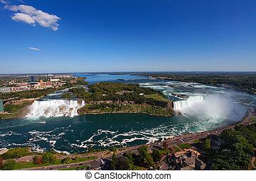 Niagara Falls - The view of the Niagara Falls, Ontario,...