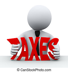 3d person tax reduction - 3d illustration of business man...
