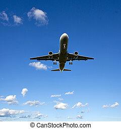 aircraft on blue sky