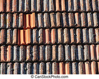 Old roof tiles - Mediterannean red old roof tiles close up
