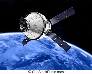 satellite  - blue planet earth and satellite in space
