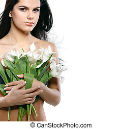 beautiful young girl with tulips,isolated on a white background