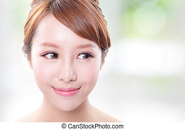 young skin care woman look empty copy space - Beauty young...