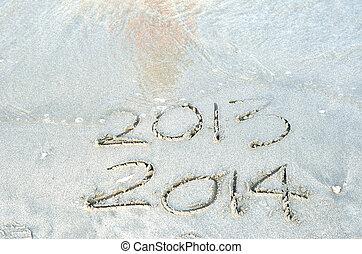 napis, Pojęcie, nadchodzący,  -, nowy, Piasek, rok,  2014, Plaża,  2013