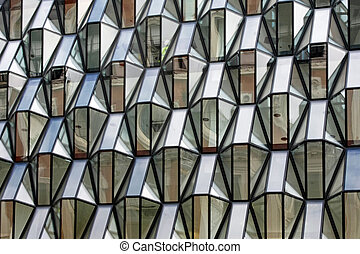 Glass facade - Geometric shape of glass facade at building