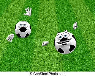 Two soccer ball smilies - Illustration of 3d soccer ball...