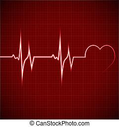 corazón, ritmo, EKG