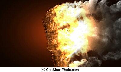 burning skeleton Peace sign. Alpha