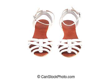 couro, branca, mulher, isolado, sandálias