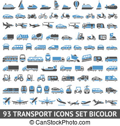 93 Transport icons set blue and gray - 93 Transport icons...