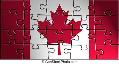 Flag of Canada, national country symbol illustration