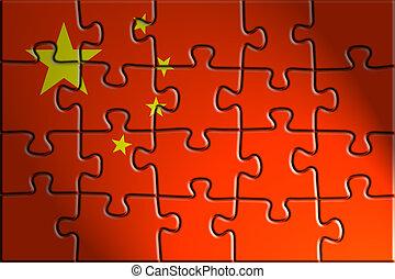 China flag - Flag of China, national symbol illustration...