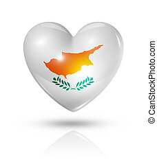 Love Cyprus, heart flag icon - Love Cyprus symbol 3D heart...