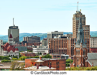 syracuse, new york - view of the city of syracuse in upstate...