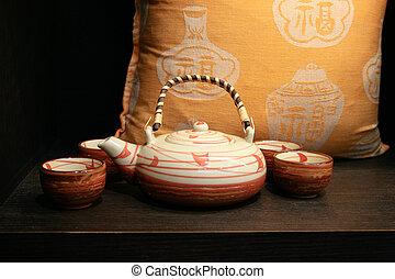 Tea set from Japan - Japanese tea set on a shelf - home...