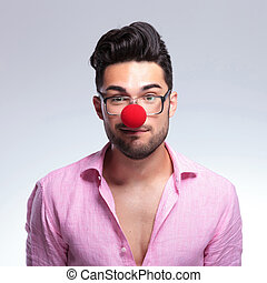 fashion young man with a red nose
