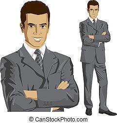 vector, hombre de negocios, en, Traje