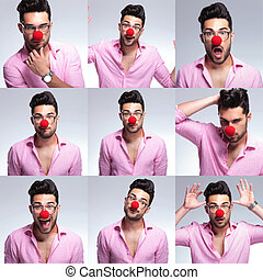 young fashion man with red nose