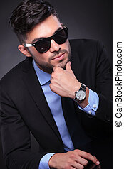 young business man looking pensive - young business man at...