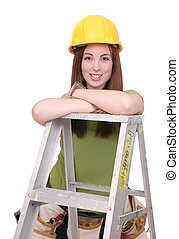 construction worker female - one young twenties construction...
