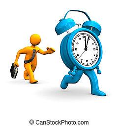 Businessman Runs Alarmer - Orange cartoon character runs...