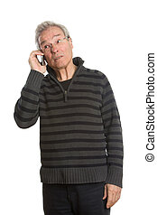 Senior Caucasian man portrait series on the phone -...