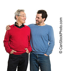 Senior and mature adult, two generations portrait - Two...