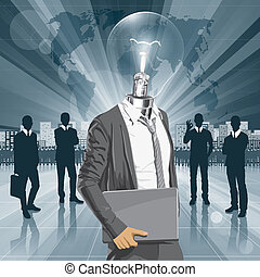 Lamp Head Man With Laptop