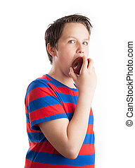 Teenager eating red apple - Waist up portrait of a teenaged...