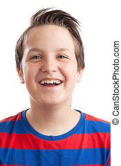 Teenage boy (Causian) closeup portrait laughing - Closeup...