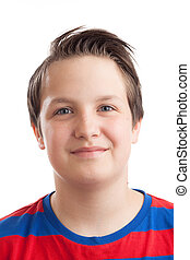 Teenage boy Causian closeup portrait - Closeup portrait of a...