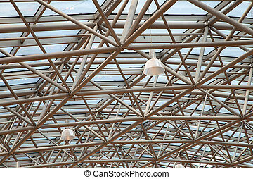 Glass roof with metal structure in perspective