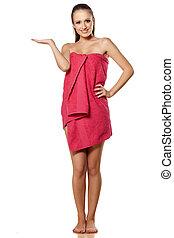 advertising girl in towel