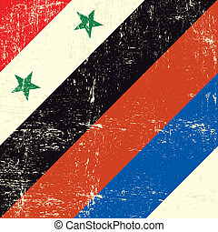 Syria and Russia grunge flag.