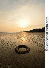 abbandonato, sole, quando, giù, pneumatico, spiaggia, va