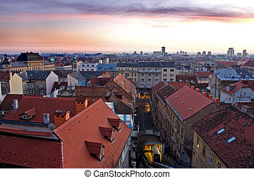 Zagreb, Croatia - Zagreb cityscape, photographed after the...