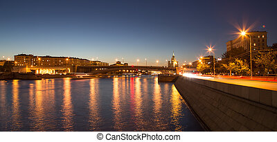 Moskva River in night Moscow, Russia
