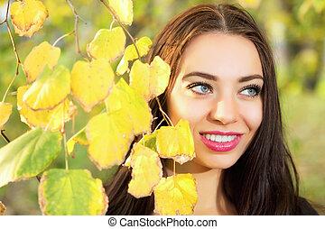 Portrait of smiling brunette