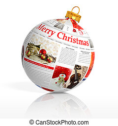 Newspaper Christmas ball on white background