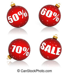 Red Christmas balls with numbers and percent symbols for...
